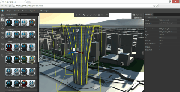 Cloud based editor to create 3D presentations