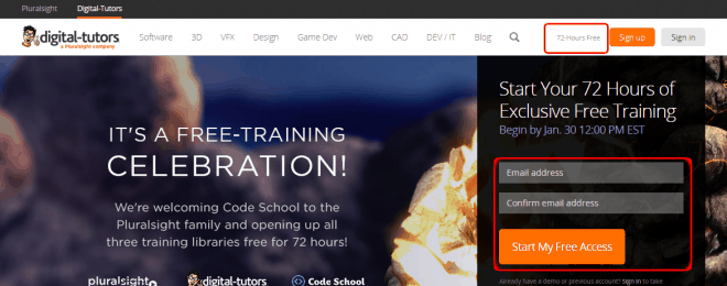 Start Your 72 Hours of Exclusive Free Training   Digital-Tutors